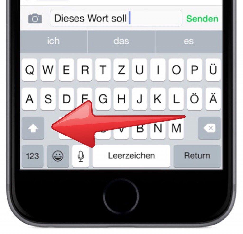 iPhone,Apple,Tastatur,Großstelltaste,Hochstelltaste,Gross,Gross schreiben 2