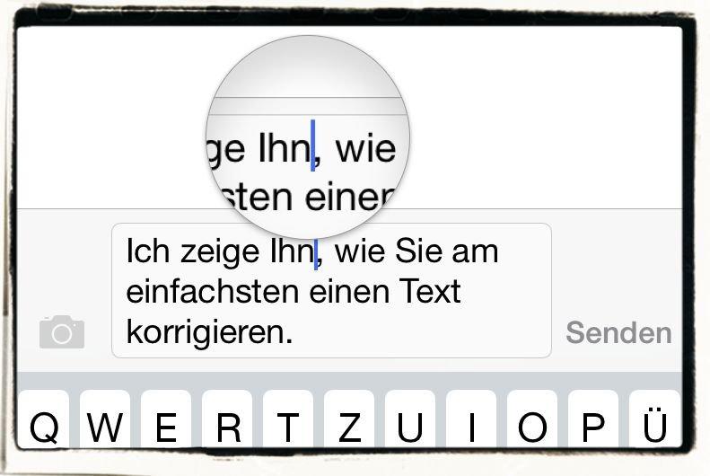 iPhone,E-Mail,SMS,iMessage,korrigieren,Schreibmarke,Cursor,Vertippt,Fehler,Zurück,Zurück-Taste 2