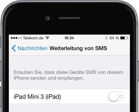 iPhone,iPad,SMS,iMessage,umleiten,weiterleiten,synchronisieren 2