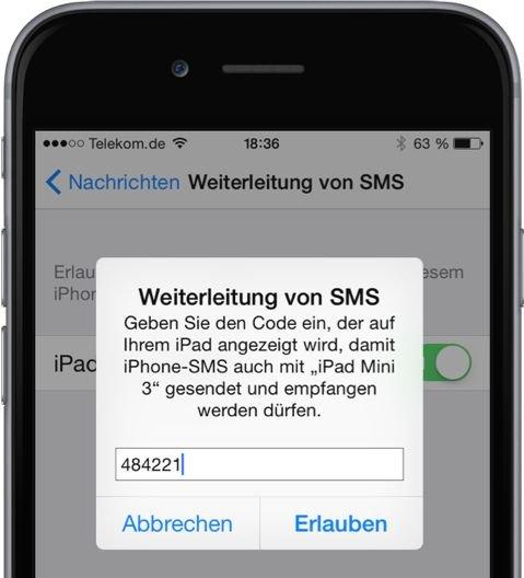 iPhone,iPad,SMS,iMessage,umleiten,weiterleiten,synchronisieren 4