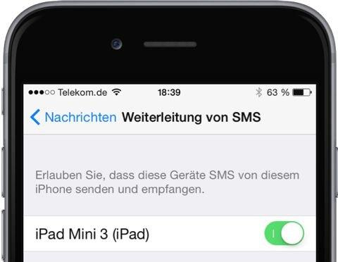iPhone,iPad,SMS,iMessage,umleiten,weiterleiten,synchronisieren 5