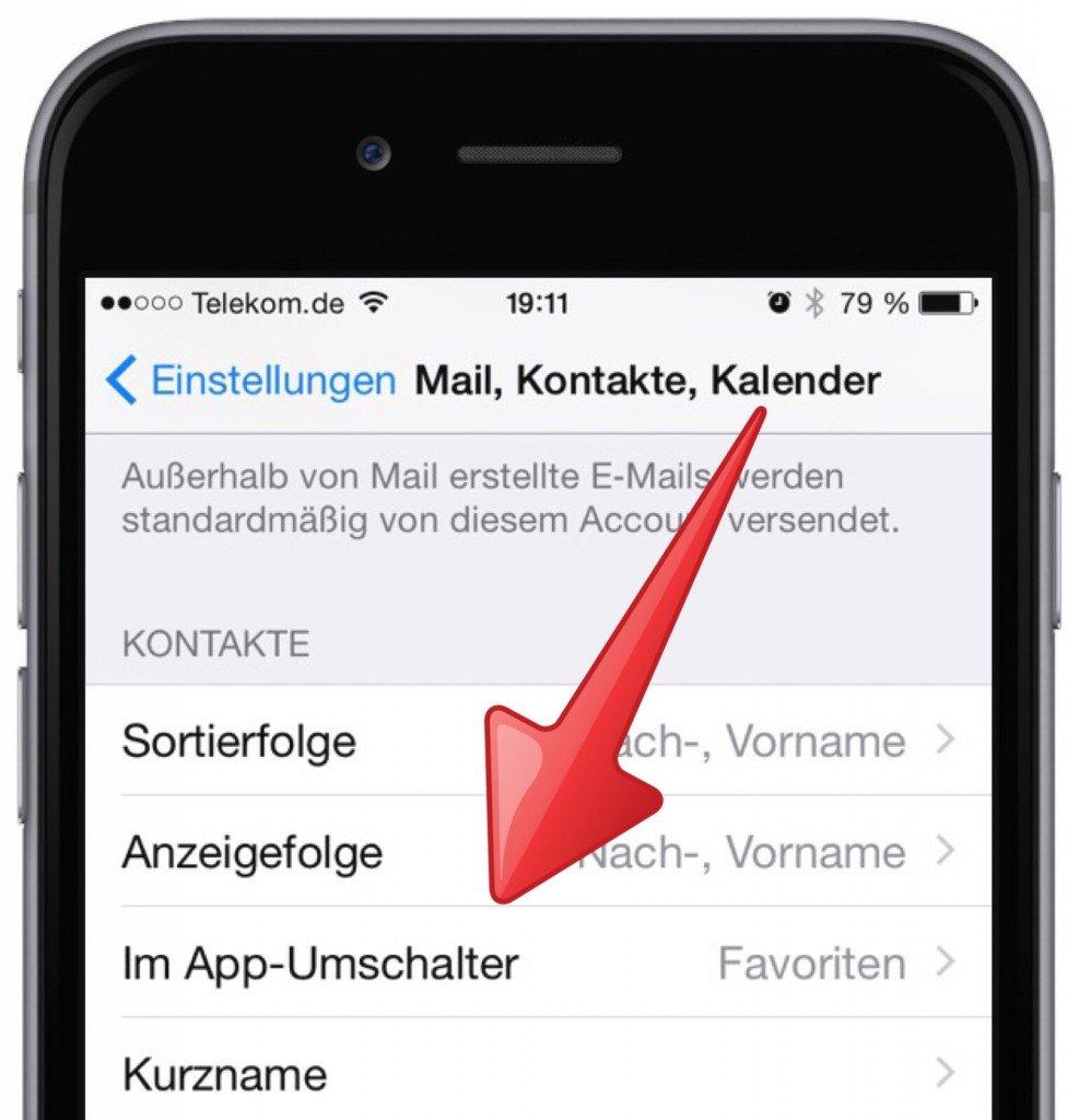 Anrufen Apple Einstellungen Favorit Telefon  Im App-Umschalter iPhone Telefon 1