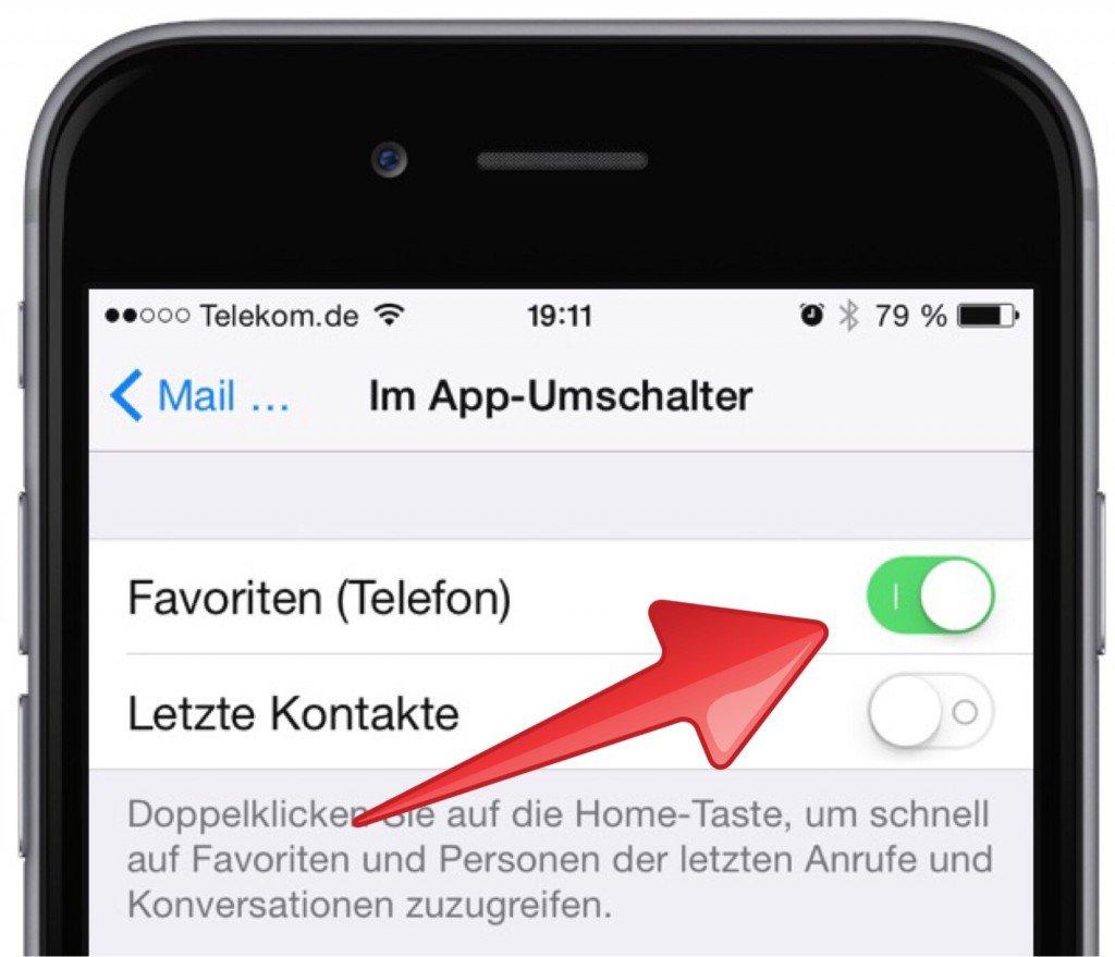 Anrufen Apple Einstellungen Favorit Telefon  Im App-Umschalter iPhone Telefon 2