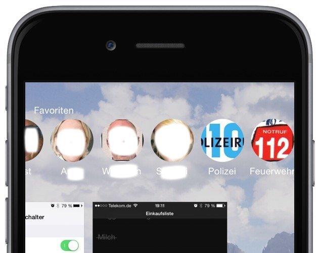 Anrufen Apple Einstellungen Favorit Telefon  Im App-Umschalter iPhone Telefon 3