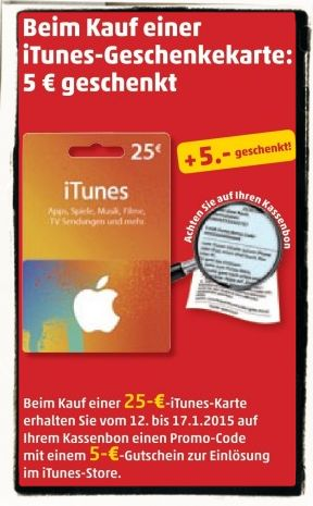 Apple,iPhone,iPad,iTunes,Karte,Gutschein,Rabatt, Geschenkkarte,Nachlass,25 EUR,5 EUR,geschenkt 1