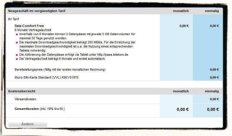 Data Comfort Free Superschnell Tablet iPad LTE-Netz Telekom t-Mobile gratis kostenlos 10 GB 2