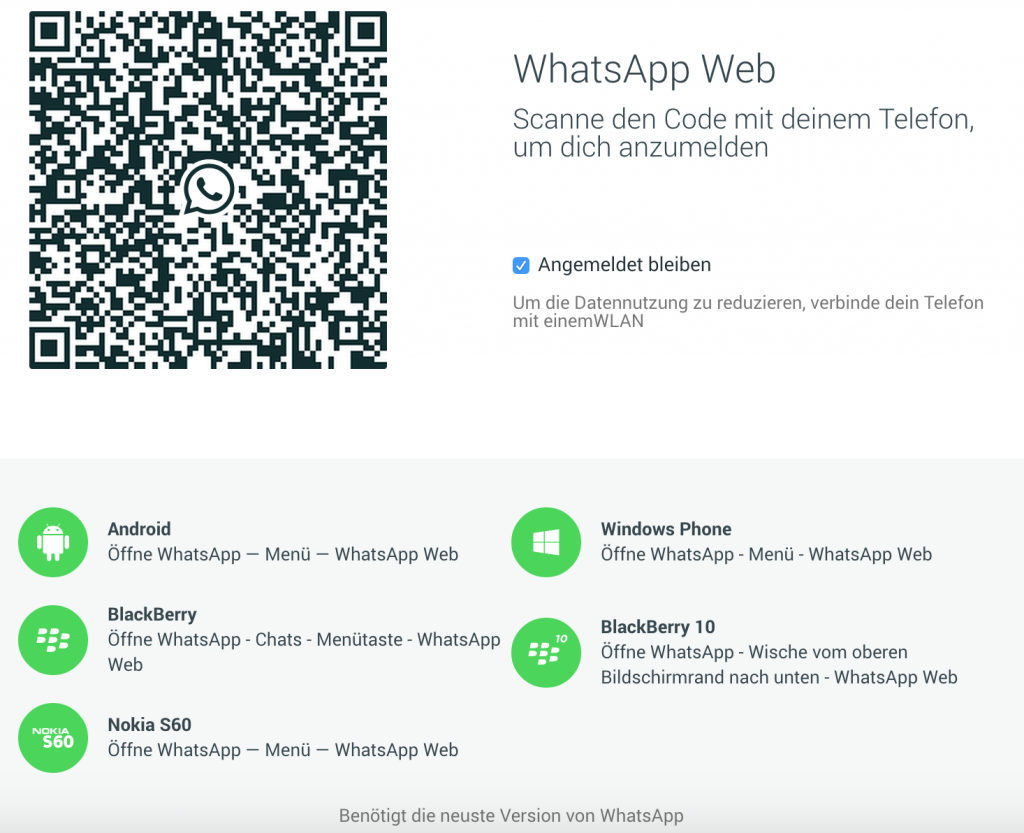 WhatsApp Web Android Windows Phone iOS Barcode QR Code synchronisieren spiegeln