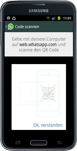 WhatsApp Web Android Windows-Phone iOS Barcode QR-Code synchronisieren spiegeln iPhone 3