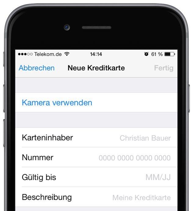 iPhone Kreditkarte iOS8 scannen Einkauf 2