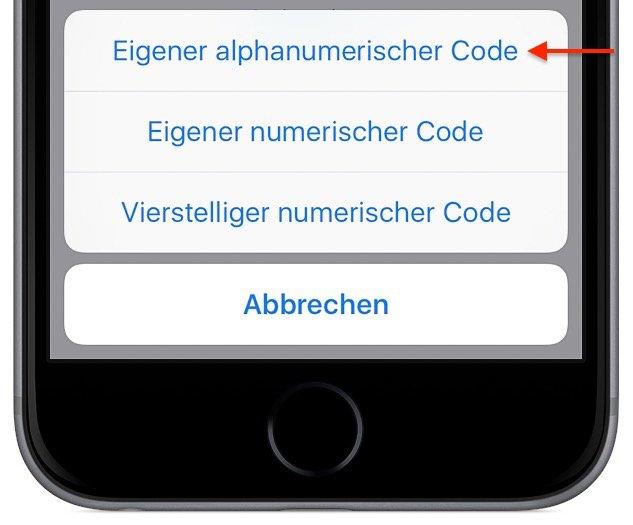 iPhone Smartphone Passwort 4ziffrig komplex Buchstaben Sonderzeichen Ziffern Touch ID ändern 13