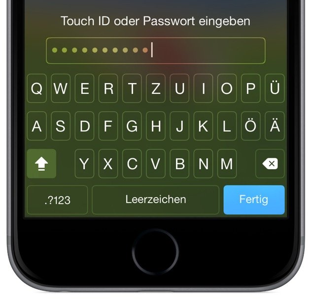 iPhone Smartphone Passwort 4ziffrig komplex Buchstaben Sonderzeichen Ziffern Touch ID ändern 2