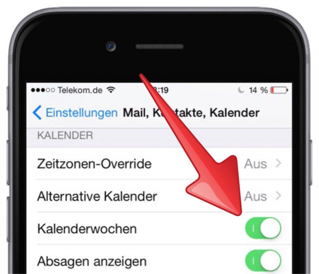 iPhone,Kalender,Wochennummer,Kalenderwoche,KW,anzeigen 3