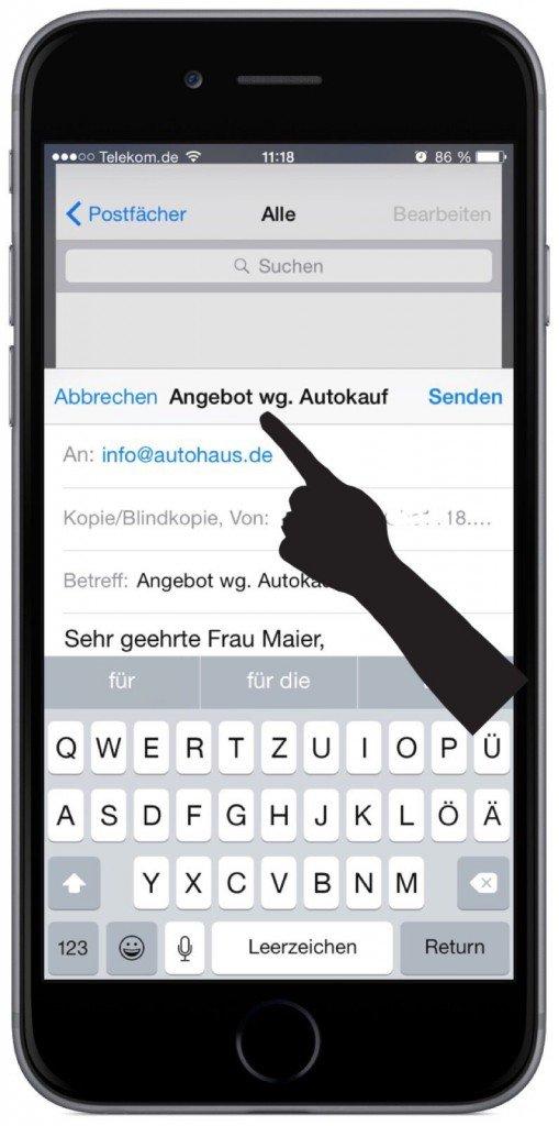 Apple Entwürfe  gleichzeitig  iPhone Mail mehrere Multitasking wechseln 3