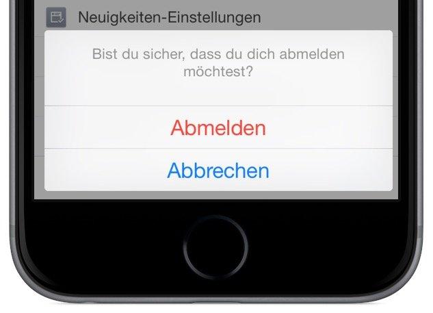 Facebook App iPhone Sitzung abmelden ausloggen 3