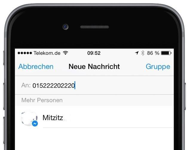 Facebook Messenger Freund nicht befreundet trotzdem Nachricht senden Mobilfunknummer Mobilnummer 2