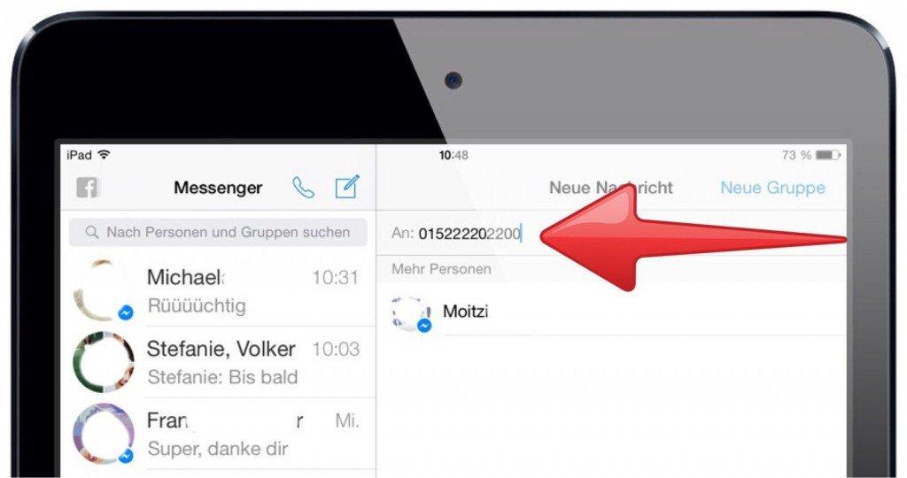 Facebook Messenger iPad Freund nicht befreundet trotzdem Nachricht senden Mobilfunknummer Mobilnummer 2