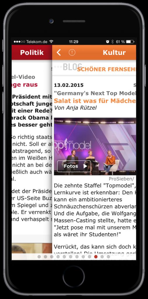 SPIEGEL ONLINE App 2.1 iPhone 6 plus Widget Wischen Pull to refresh aktualisieren Page Control 1