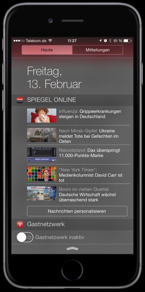 SPIEGEL ONLINE App 2.1 iPhone 6 plus Widget Wischen Pull to refresh aktualisieren Page Control 2