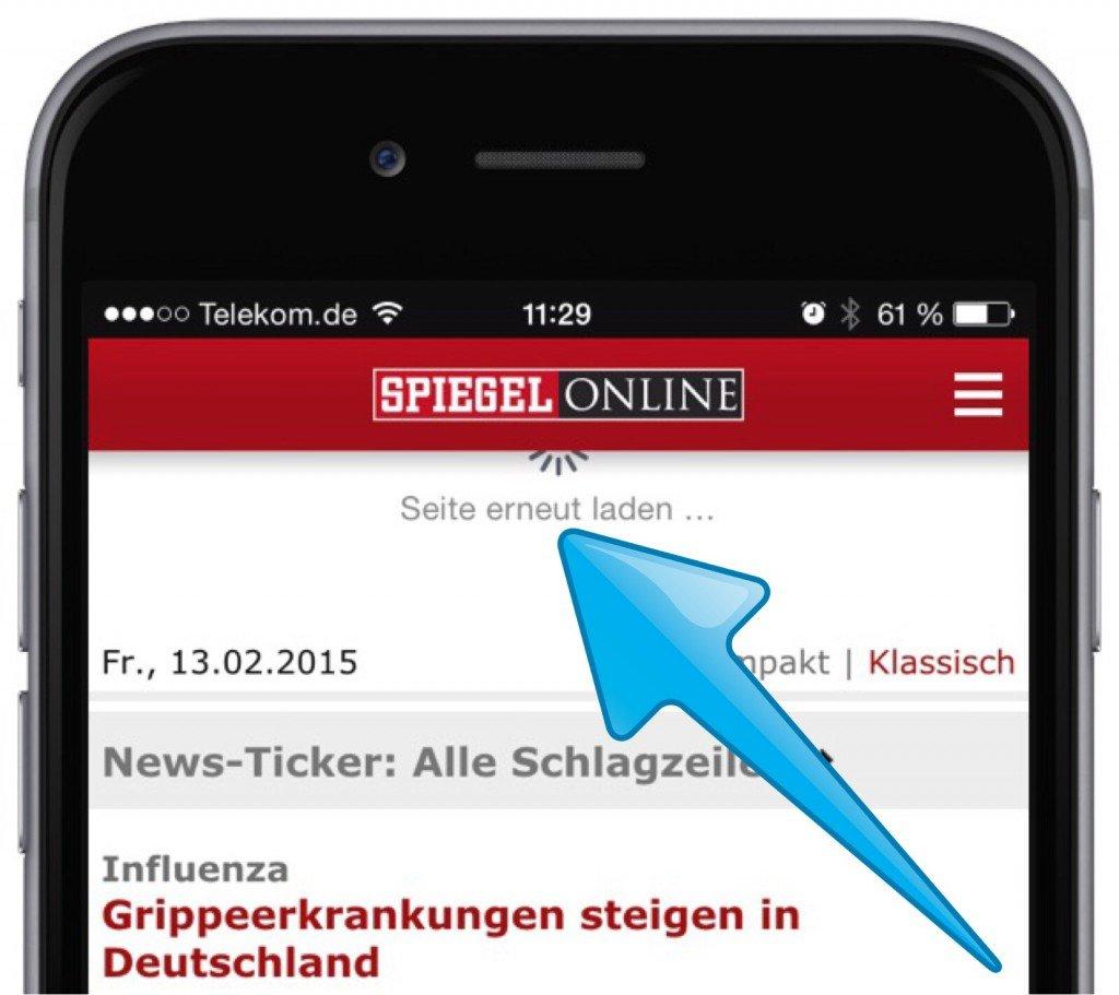 SPIEGEL ONLINE App 2.1 iPhone 6 plus Widget Wischen Pull to refresh aktualisieren Page Control 3