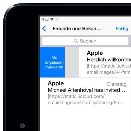 iPad Mail gelesen ungelesen Markierung Wischgeste 2