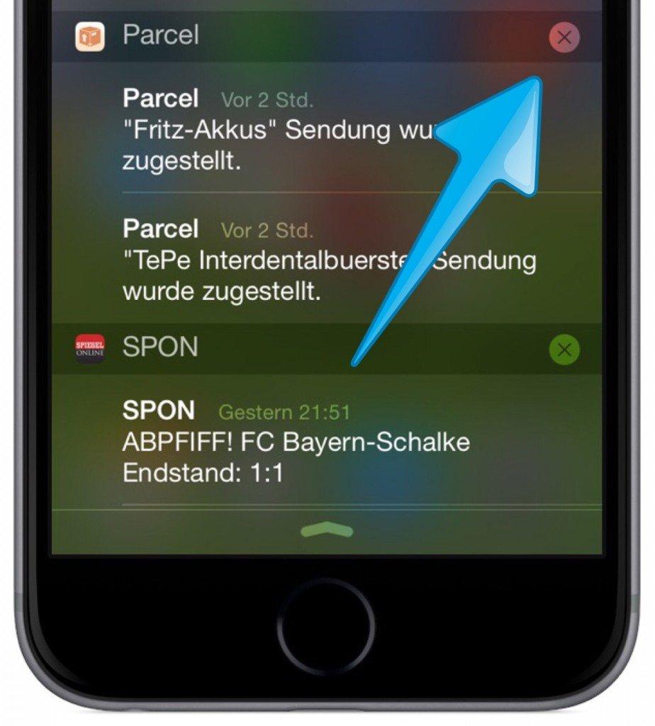 iPhone Mitteilungszentrale Mitteilung löschen 2