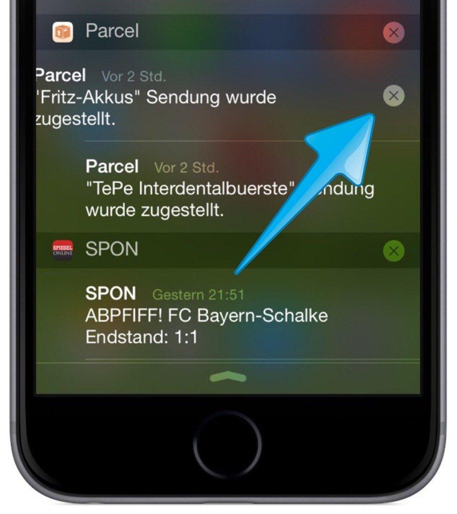 iPhone Mitteilungszentrale Mitteilung löschen 3