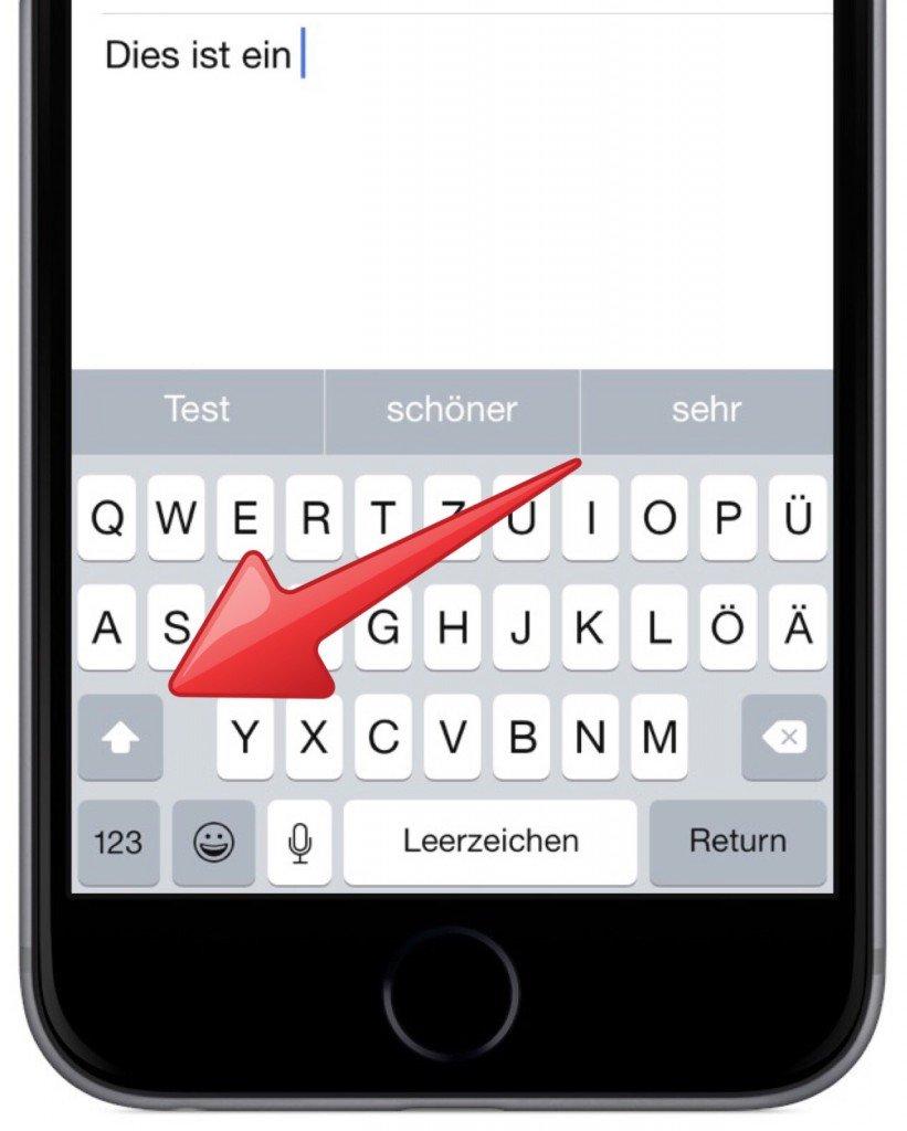 iPhone Tastatur Modus Modi Hochstelltaste Kleinbuchstaben Grossbuchstaben 1