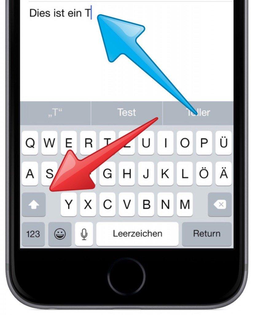 iPhone Tastatur Modus Modi Hochstelltaste Kleinbuchstaben Grossbuchstaben 3