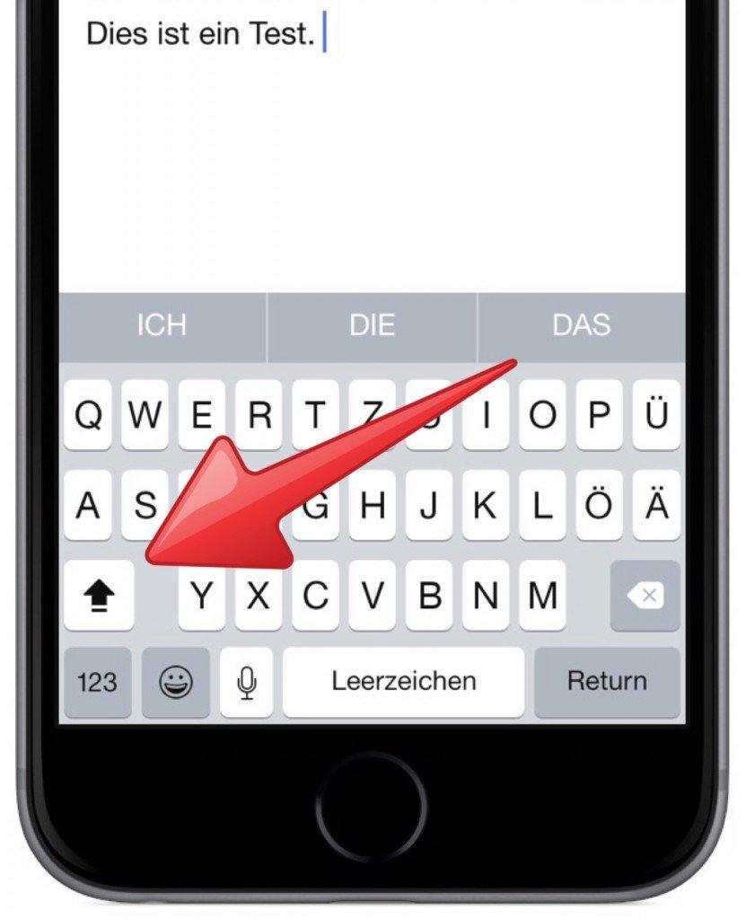iPhone Tastatur Modus Modi Hochstelltaste Kleinbuchstaben Grossbuchstaben 4