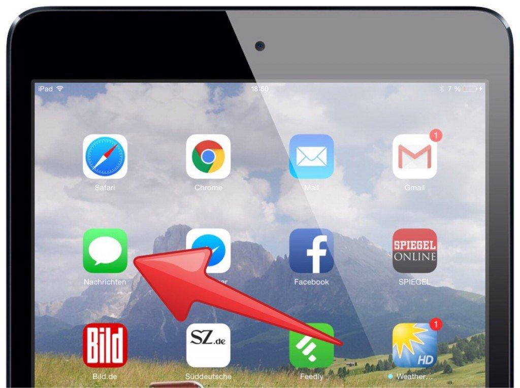 Apple iPad Nachrichten SMS iMessage Quittung Lesebestätigung Empfang gesendet gelesen zugestellt 1