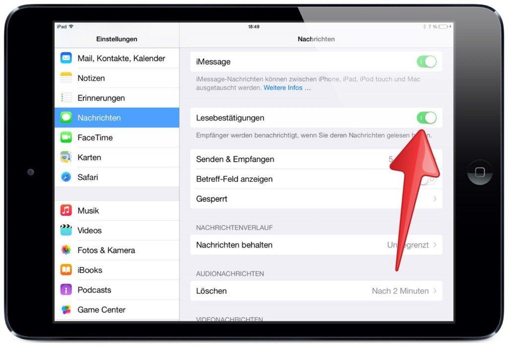Apple iPad Nachrichten SMS iMessage Quittung Lesebestätigung Empfang gesendet gelesen zugestellt 4