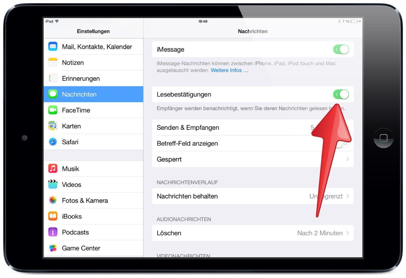 iPad: Lesebestätigung für iMessage-Nachricht (Gelesen)
