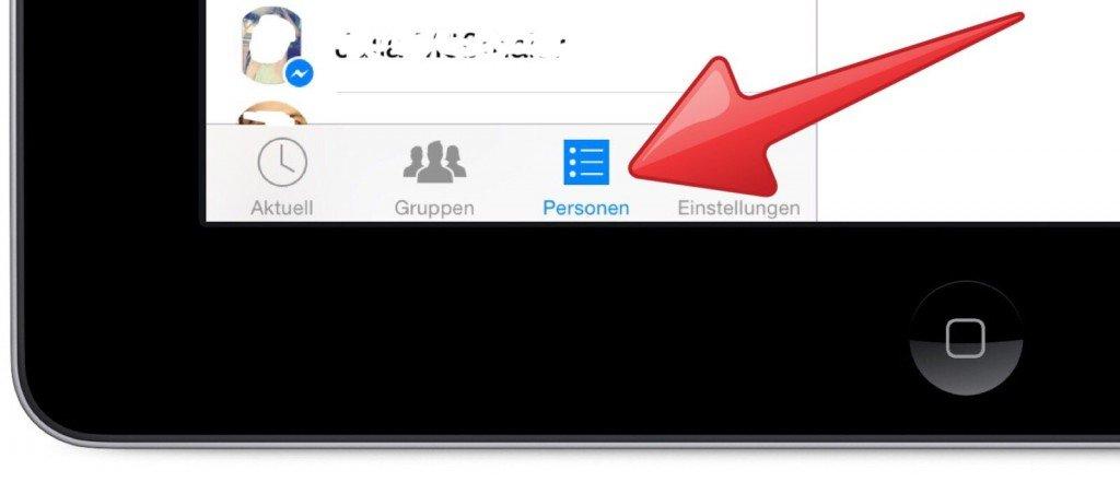 Facebook Messenger Symbole Personen Kontakte Liste iPad 1