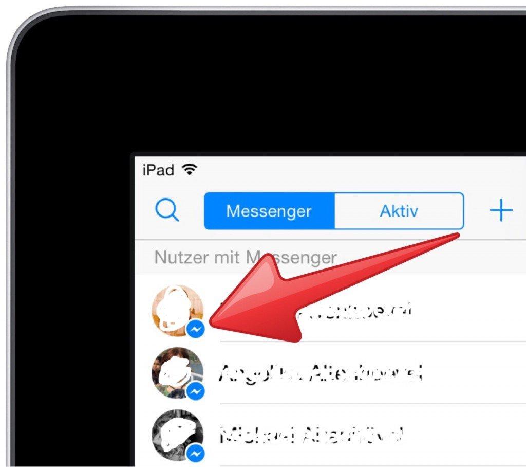 Facebook Messenger Symbole Personen Kontakte Liste iPad 2