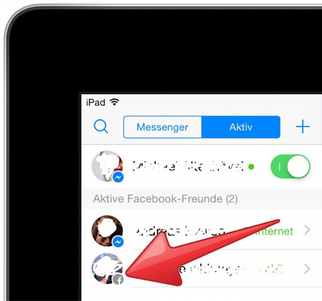 Facebook Messenger Symbole Personen Kontakte Liste iPad 3