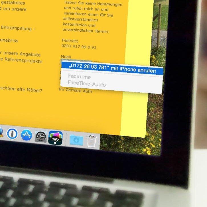 Mac Book Air Pro iPhone Safari Anruf übergeben 2