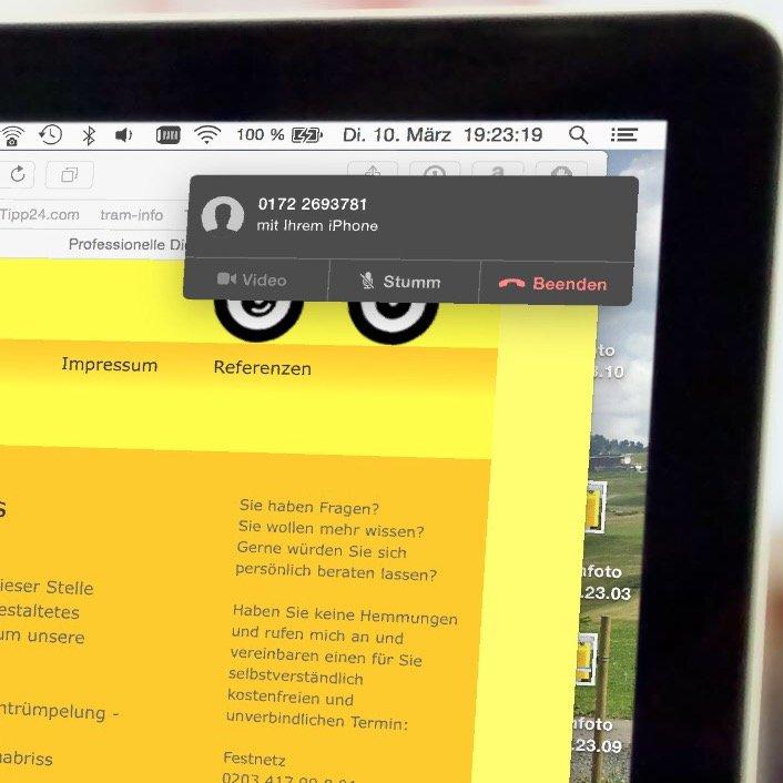 Mac Book Air Pro iPhone Safari Anruf übergeben 4