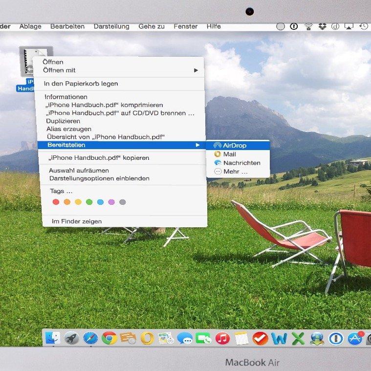 Mac iPhone PDF Dolkument AirDrop übertragen WLAN Bluetooth schnurlos 1