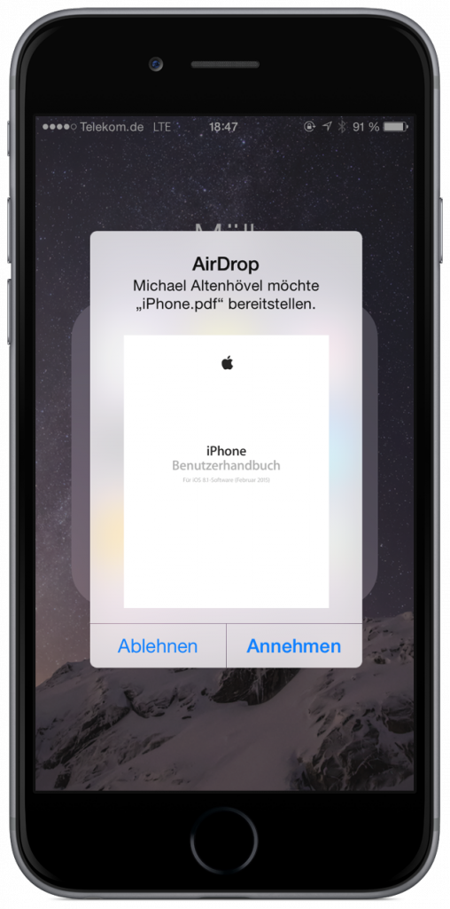 Mac iPhone PDF Dolkument AirDrop übertragen WLAN Bluetooth schnurlos 4