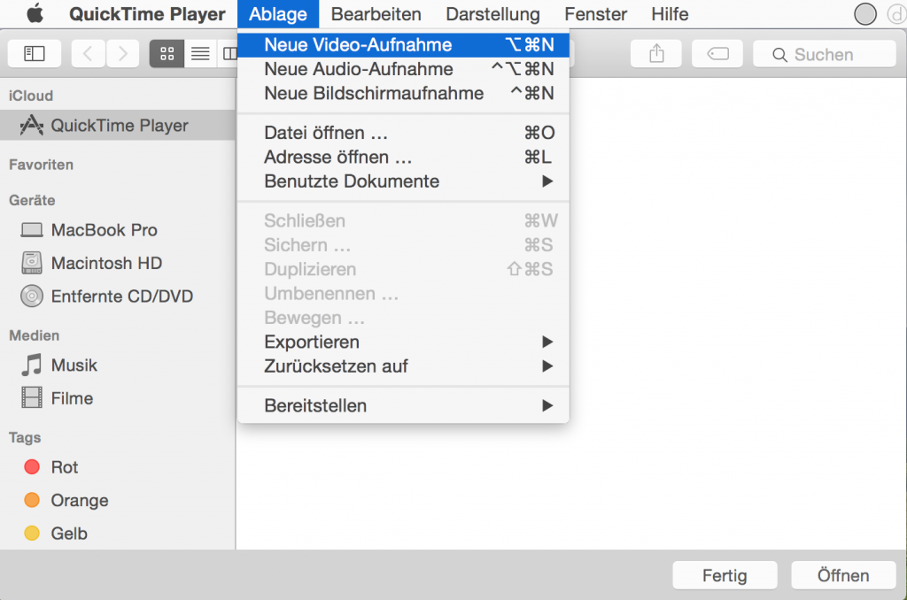 Mac iPhone Video aufnehmen filmen speichern Screencast Bildschirmfilm Display YouTube Vimeo Yosemite 2
