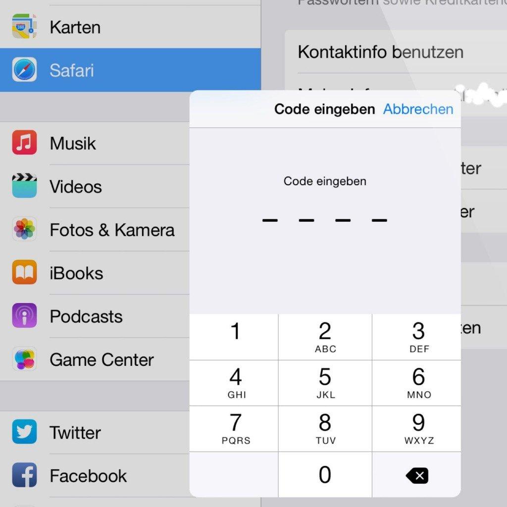 iPad Safari Schlüsselbund Passwort Kennwort speichern 3