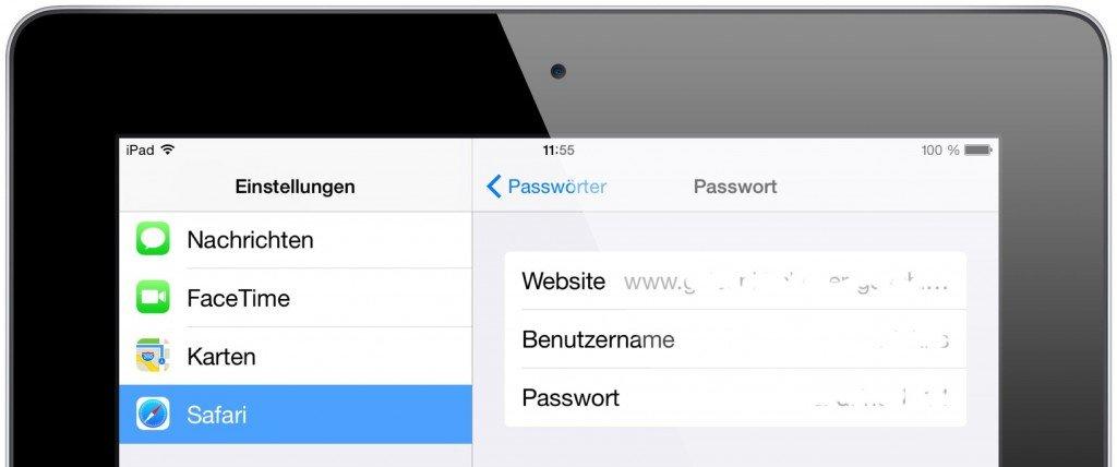 iPad Safari Schlüsselbund Passwort Kennwort speichern 4