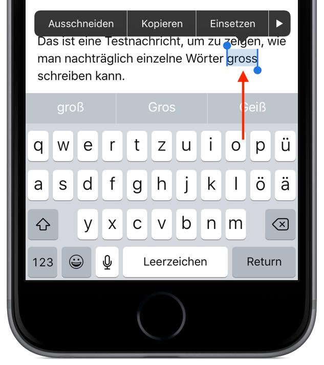 iPhone Ganze Wörter nachträglich GROSS SCHREIBEN 1