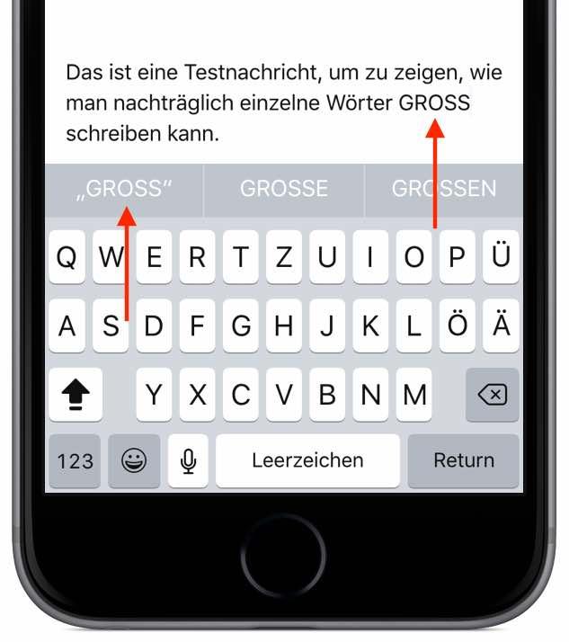 iPhone Ganze Wörter nachträglich GROSS SCHREIBEN 3