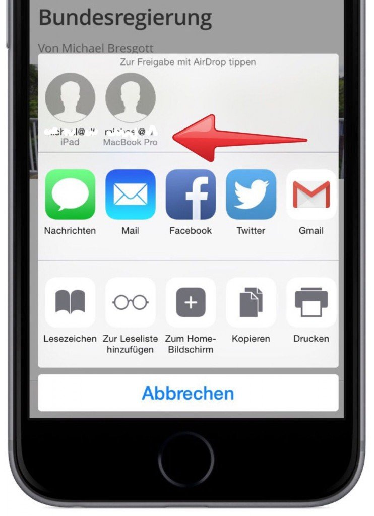 iPhone iPad AirDrop Internet Link übertragen 2