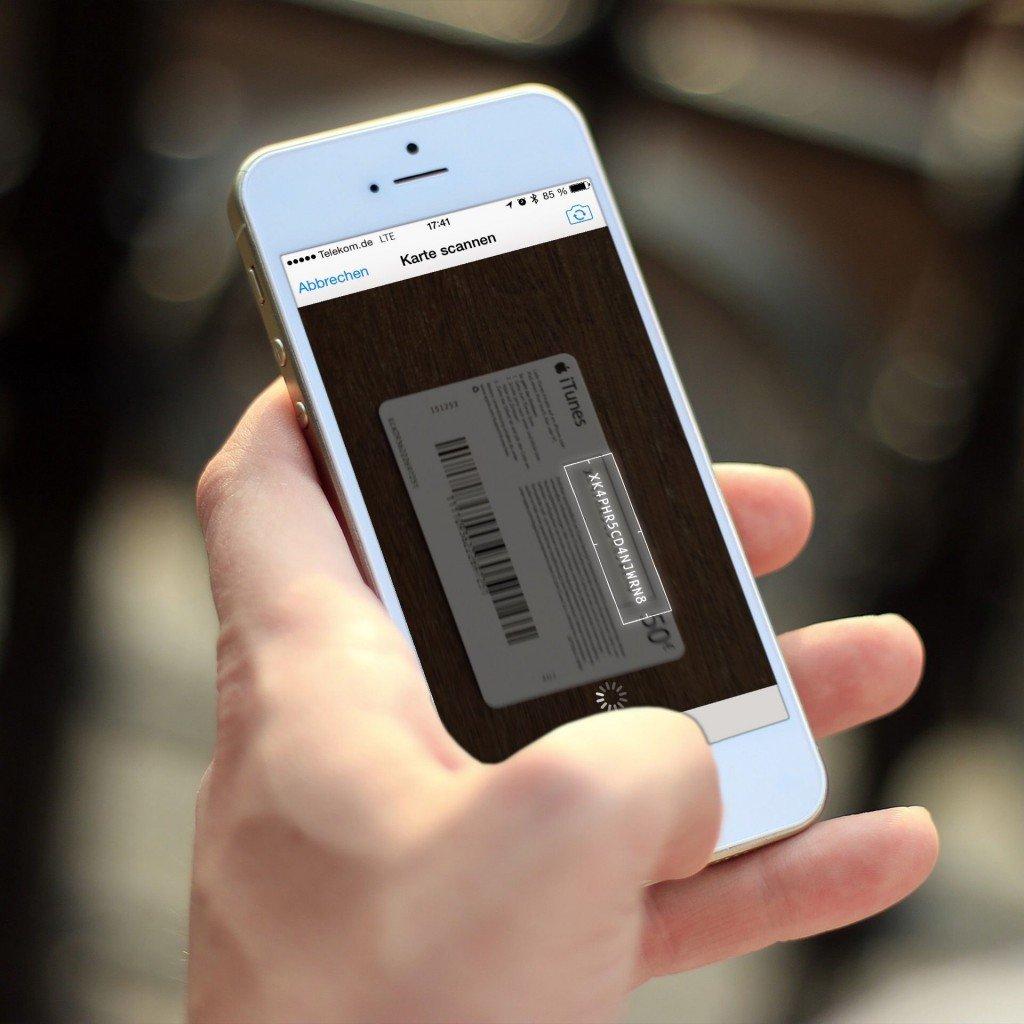 iTunes Karte Geschenkkarte einlösen einscannen 5