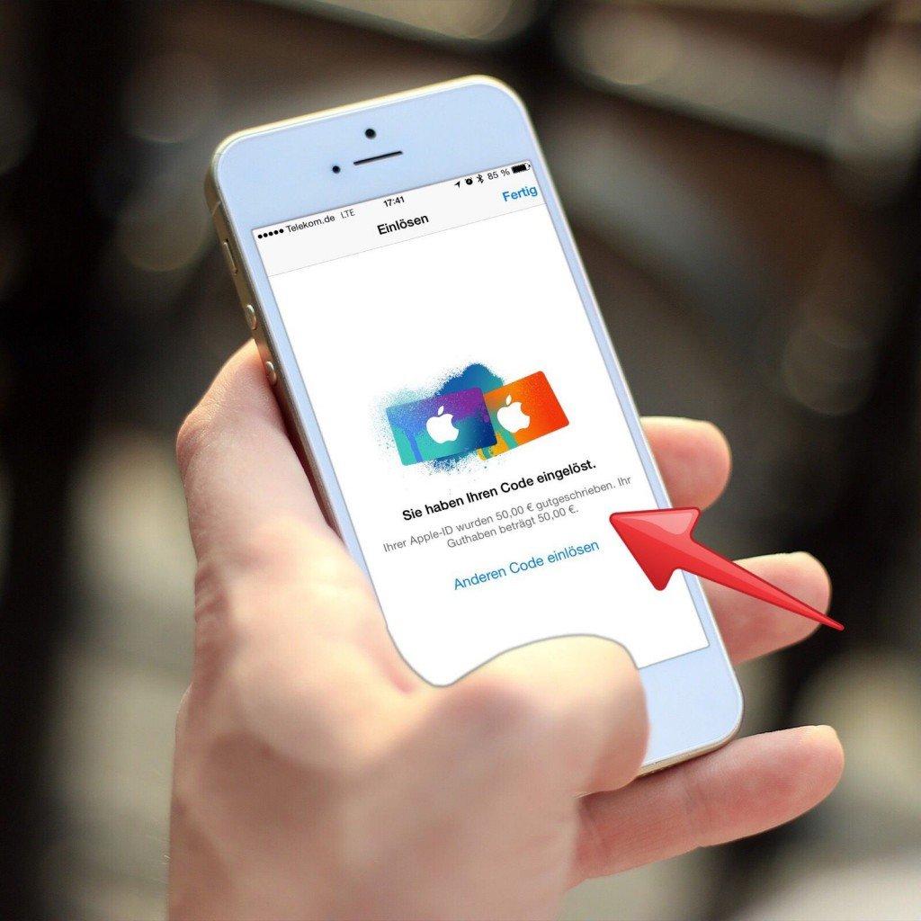 iTunes Karte Geschenkkarte einlösen einscannen 6