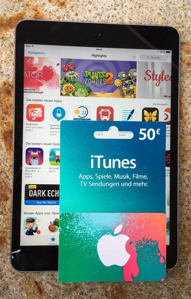 iTunes Karte Geschenkkarte einlösen einscannen iPad 1