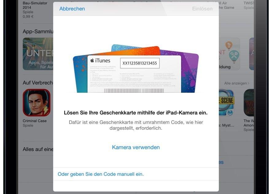 iTunes Karte Geschenkkarte einlösen einscannen iPad 4