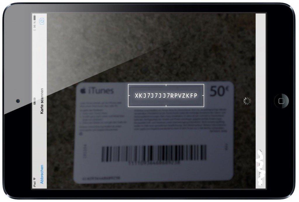 iTunes Karte Geschenkkarte einlösen einscannen iPad 5